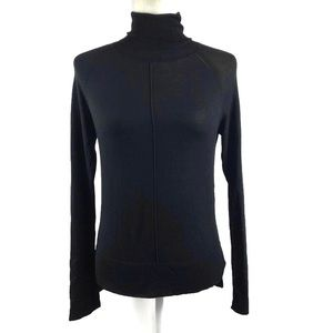 Zara Knit Black Dolman Side Slit Turtleneck
